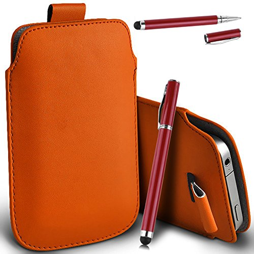 Apple iPhone 6 - Cuir Pull Tab Case Cover Pouch + 2 en 1 tactile Stylet + Chiffon ( Orange )