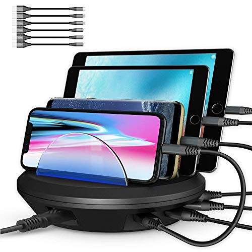 (Charging Station, AHRISE Docking Station with 4 USB Ports and Phone Dock Stand Compatible Samsung, iPhone, Ipad, 6.8A/34W, 6-pcs Cables Included, ETL Certified, Black)