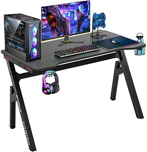 Computer Desk Gaming Desk 47.2 inches Student PC Desk Writing Desk Ofiice Desk Extra Large Modern Ergonomic Racing Style Table Workstation Carbon Fiber Cup Holder Headphone Hook