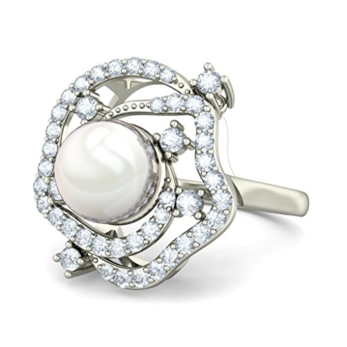 18K Or Blanc, 0,4carat Diamant Blanc (IJ | SI) Blanc perle et diamant Bague