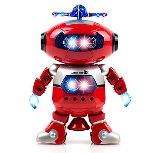 Alagoo Electronic Toy Robot Walking Dancing Singing Robot with Musical and Colorful Flashing Lights 360° Body Spinning Robot Toy Gift for Kids, Boys, Girls (Red) -