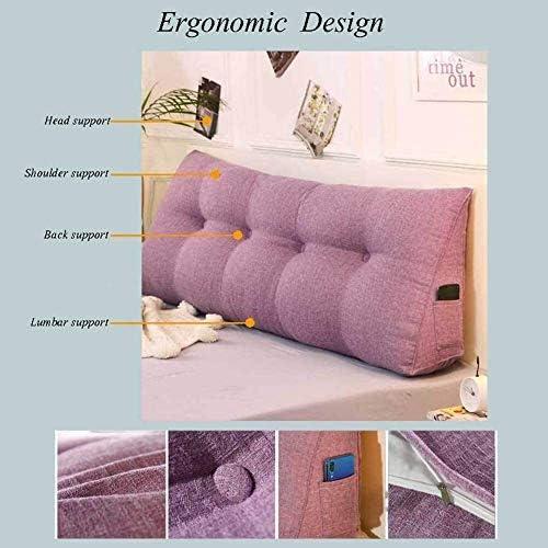 Lanrui Tête de lit Couverture Linen Triangle Wedge Coussin Nuit Oreiller Doux tête de lit Grand Rouge 90x45x20cm Dossier