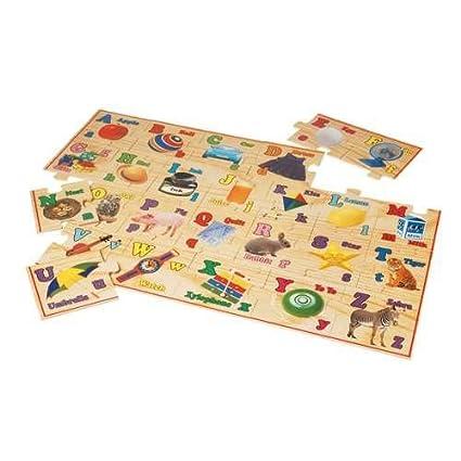 Amazoncom Wooden Alphabet Floor Puzzle Toys Games