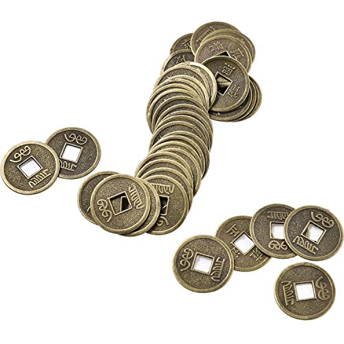 Pangda 100 Pieces Chinese Feng Shui Coins I-ching Coins Fortune Coins with Storage Bag for Luck Health and Wealth ()