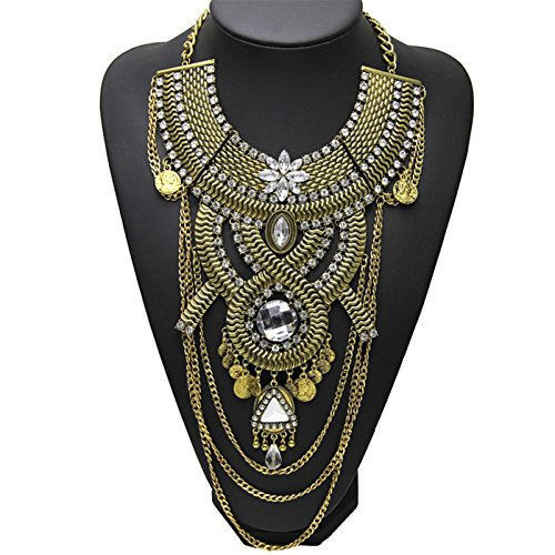 Lanue Womens Ethnic Tribal Boho Beads Coin Tassels Chain Necklaces Long Belly Dance Bohemian Jewelry (Gold) ()