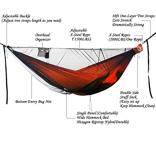 onewind Camping Hammock with Mosquito Net Tree Straps Ridgeline Double 2 Person Portable XL Lightweight Nylon