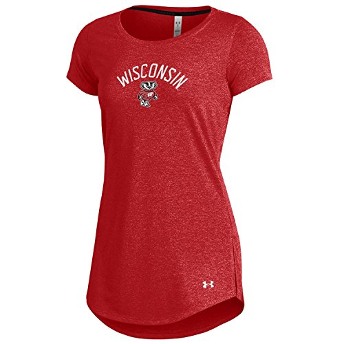 (Under Armour NCAA Wisconsin Badgers Women's Threadborne Roving Short Sleeve Crew, Large, Flawless)
