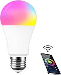 SILENTCARE Color Changing Light Bulb,Smart WiFi Light Bulb Compatible with Alexa & Google Home Assistant,A19,E26,9W (80W Equivalent) Dimmable RGBCW Color Changing LED Bulbs for Siri (1 Pack)