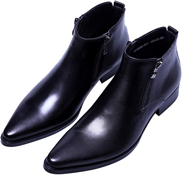 Men/'s Pumps Casual Leather Pointy Toe Pleated Ankle Boot Formal Dress Shoes New
