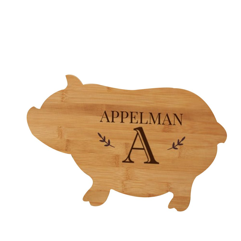 Engraved Family Name Animal Cutting Board - Pig, Bamboo