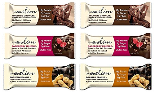 Nugo Bar Slim Variety Sampler Brownie Crunch, Raspberry Truffle, and Roasted Peanut, 2 bars of each flavor, 1.59 Ounces
