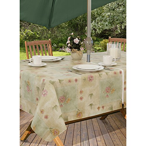 Peony Patch Flannel Backed Indoor Outdoor Vinyl Table Linens, 60-Inch by 84-Inch Oblong (Rectangle) with Umbrella Hole and Zipper, Sage (Garden Umbrellas Oblong)