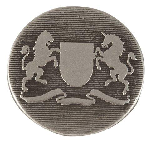 [Rampant Lion & Rampant Unicorn Heraldry Button. Antique Silver Finish, Size 7/8