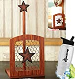 Gift Included- Farmhouse Country Kitchen Star Rustic Countertop Essentials + FREE Bonus Water Bottle by Homecricket (Paper Towel Holder)