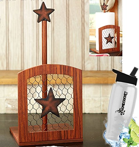 - Gift Included- Farmhouse Country Kitchen Star Rustic Countertop Essentials + FREE Bonus Water Bottle by Homecricket (Paper Towel Holder)
