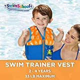 SwimSchool Boys Printed Swim Vest Safety Strap, S/M Childrens Floatation Device, Multi Color