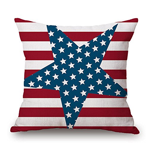 Winhurn Vintage American Flag Pillow Cases Cotton Linen Sofa Cushion Cover Home (J)
