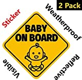 NEW DESIGN: Reflective Baby on Board Sticker Sign (Adhesive) for Your Car or Auto (2 Pack) by Bayamo