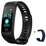 HYON Fitness Activity Sleep Tracker Heart Rate Blood Pressure Monitor Step Calorie Counter Health Pedometer Watch Smart Band Bluetooth Bracelet Waterproof Wristband for Kids & Adults (Black)