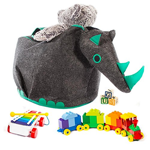 G.U.S Animal Shaped Toy Storage Box, Collapsible Lightweight Bins with Easy Open, Double-Pull Zipper Handle. Rhino, Gray with Green (Distressed Leather Sofa Sale)