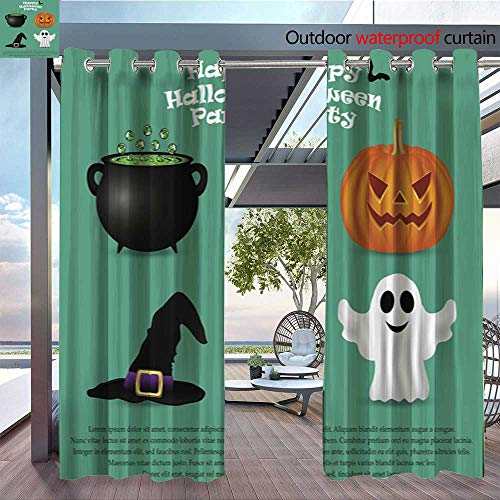 QianHe Patio Curtains Set-for-Halloween-Party-Pumpkin-Witch-hat.jpg Outdoor Curtain for Patio,Outdoor Patio Curtains W96 x L96(245cm x 245cm) ()