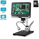 LCD Digital Microscope 7 in HD Screen 200X Magnification Zoom Camera Video Recorder with 16G SD Card, Angle Adjustable Microscope, 8 LED 2 Fill Lights
