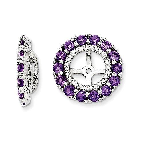 Sterling Silver Rhodium Diamond & Amethyst Earring Jacket by Jewels By Lux