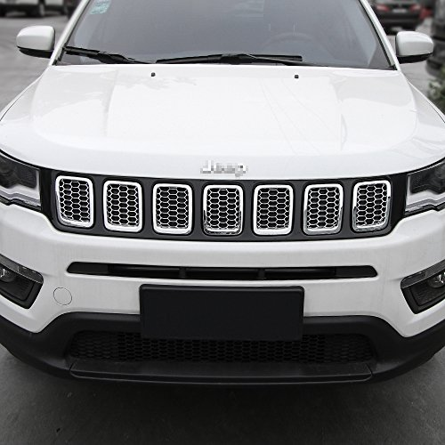 Chrome Grill Kit - Mesh Grille Grill Cover Inserts Frame Trims Kit For 2017-2018 Jeep Compass (7pcs,Chrome)