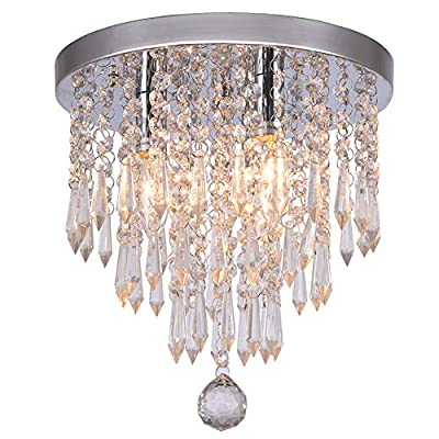 "Hile Lighting KU300107 Crystal Chandeliers Flush Mount Ceiling Light Lamp,Diameter 11.0 Inch Height 11.8 Inch, 3 Lights - Size: Diameter 11.0"" X Height 11.8"";Suggested Room Size: 8-15㎡, Need assembly Bulb Base:3×40 watts bulbs (Bulb Not Included) Flush Mount K9 Crystal / Crystal Style Modern Chandelier - kitchen-dining-room-decor, kitchen-dining-room, chandeliers-lighting - 511upcd4wXL. SS400  -"