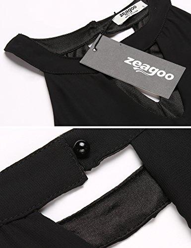 Zeagoo Women's Stand Collar Off Shoulder Sleeveless Cotton Casual Dress,Black,L