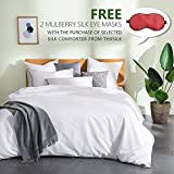 THXSILK Silk Comforter for All Season with Cotton Shell, Silk Filled Comforter,Silk Quilt, Silk Duvet -Ultra Soft, Hypoallergenic, Light Weighted-100% Top Grade Mulberry Silk, Twin Size, White