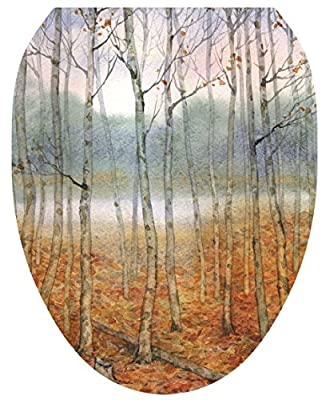 Toilet Tattoos, Toilet Seat Cover Decal, Foggy Forest Trees, Size Elongated