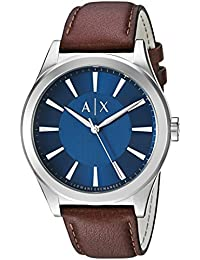 Armani Exchange Men's 'Smart' Quartz Stainless Steel and Leather Automatic Watch, Color:Brown (Model: AX2324)