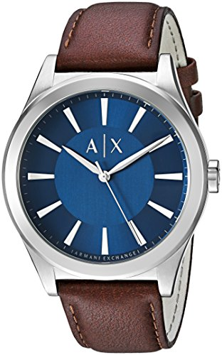 Mens Designer Watch (Armani Exchange Men's AX2324 Brown  Leather Quartz Watch)