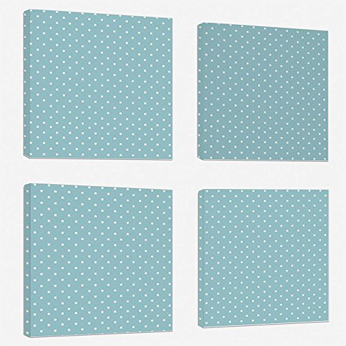 (4pcs/set Modern Painting Canvas Prints Wall Art For Home Decoration Light Blue Print On Canvas Giclee Artwork For Wall DecorClassic Polka Dots Vintage Design Stylish Cottage Country Home Decorations-L)
