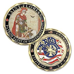 U.S. Saint Florian Volunteer Firefighters Prayer Challenge Coin-Protect US from POPOUGE-LP
