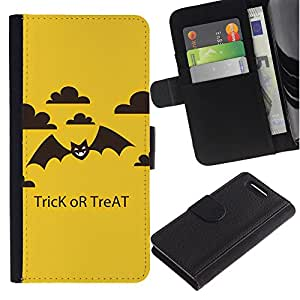 Sony Xperia Z1 Compact / Z1 Mini / D5503 Modelo colorido cuero carpeta tirón caso cubierta piel Holster Funda protección - Halloween Trick Treat Bat