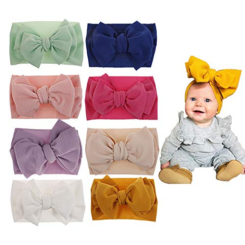 Baby Girl Nylon Headbands and Bows, Newborn Headbands Infant Hairbands Toddler Hair Accessories (Multicolor-ZQ19)