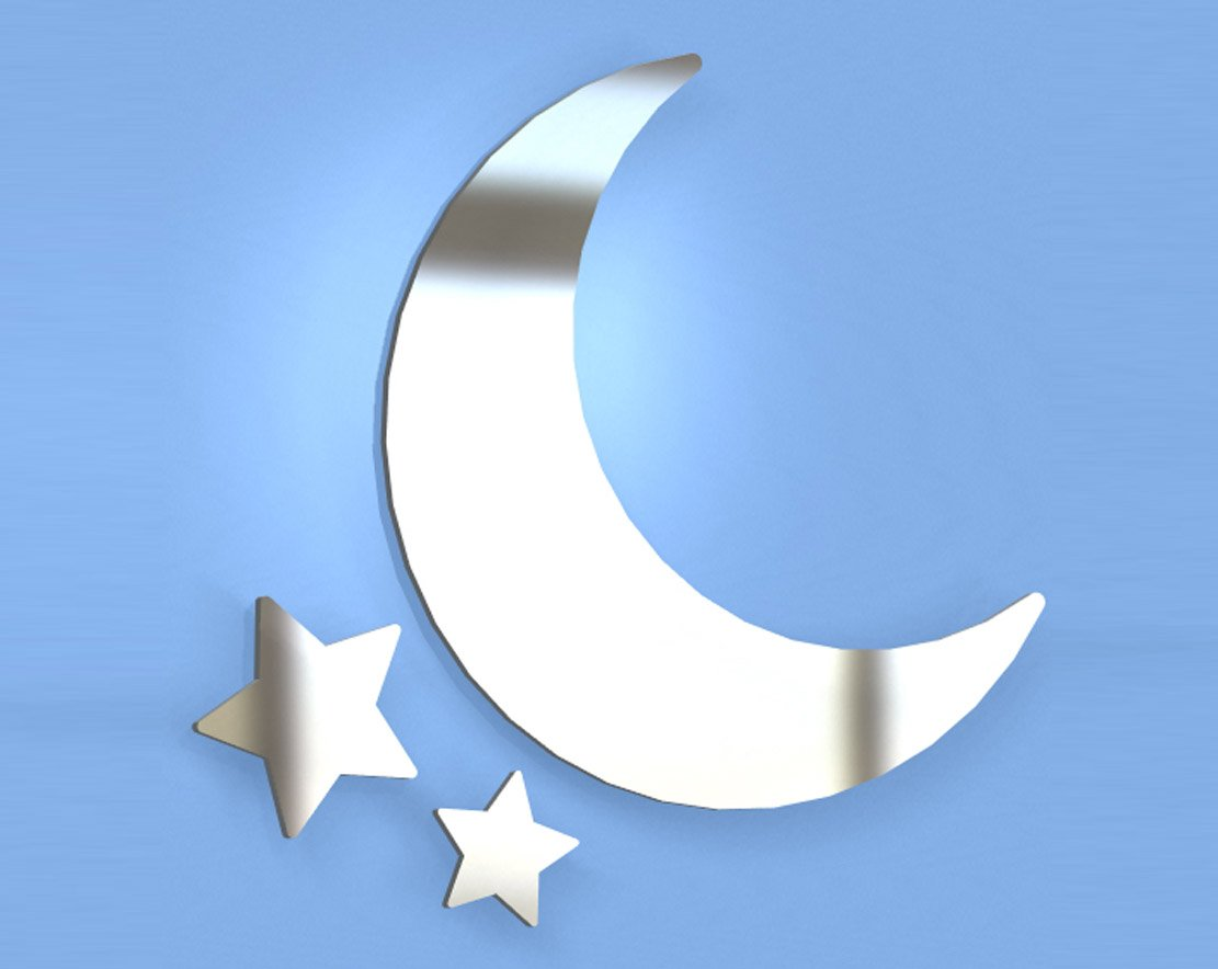 Moon And Stars Mirror - Available in various sizes, including sets for crafting kits - 50cm x 50cm