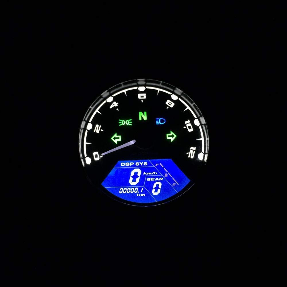 12000 RPM MPH Blue LED Backlight Digital Signal LCD Odometer Speedometer Tachometer 199 kmh for Motorcycle Custom Cruiser Caf/é Racer
