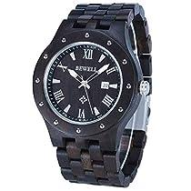 Bewell W109A Men Wooden Quartz Watch Casual Round Dial Analog Handmade Wood Wristwatch