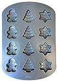 Wilton Winter-Holiday Cookie Baking Pan (Snowflakes, Christmas Trees, Gingerbread Men)
