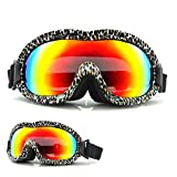 Aoohe Outdoor Sports Ski and Snowboard Goggles Plating Dual Lens Anti-Fog Windproof Spherical Glasses (leopard print)