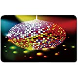 Memory Foam Bath Mat,Popstar Party,Vibrant Colorful Disco Ball Nightclub Celebration Party Dance and Music Print DecorativePlush Wanderlust Bathroom Decor Mat Rug Carpet with Anti-Slip Backing,Multic