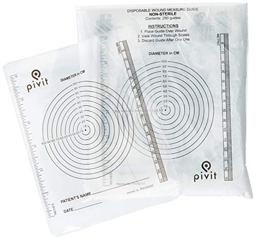 Pivit Disposable Medical & Dermatology Bullseye Circle Wound Measurement Rulers | 250 Pack | Inches & Centimeters | Quick & Easy Clear Plastic Guide Measures Wounds & Stomas Diameter