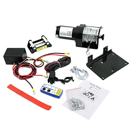 Safstar 2500lbs DC 12V Electric Recovery Winch Truck SUV Car Wireless Remote Control Kit