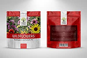 Wildflower Seeds Butterfly and Humming Bird Mix - Large 1 Ounce Packet 7,000+ Seeds - 23 Open Pollinated Annual and Perennial Species