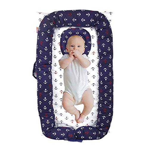 Windream Co-Sleeping Crib for Baby Nautical Theme Navy Blue Anchor-Infant Bassinet Breathable, Washable and Portable Perfect for Cuddling, Lounging, Co Sleeping, Napping and Travel(0-24 Months)