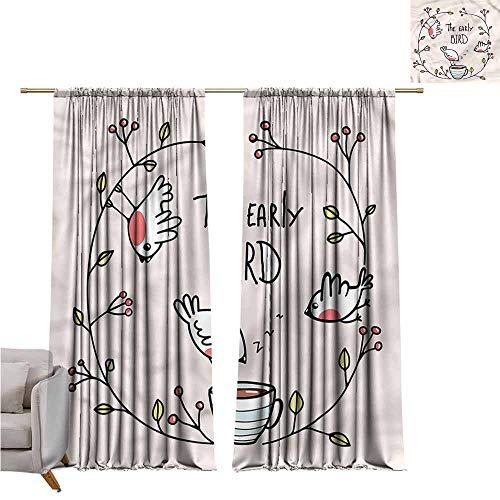 zojihouse BirdsThermal Insulated Blackout Curtainsnfor Bedroom Living Room Nursery Early Bird Phrase Zzz Coffee W82xL72