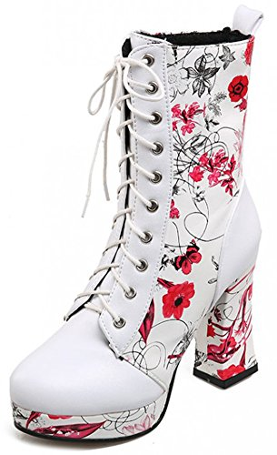 Summerwhisper Womens Elegant Floral Print Round Toe Lace Up Booties Chunky High Heel Platform Short Ankle Boots Shoes Red 8 5 B M  Us